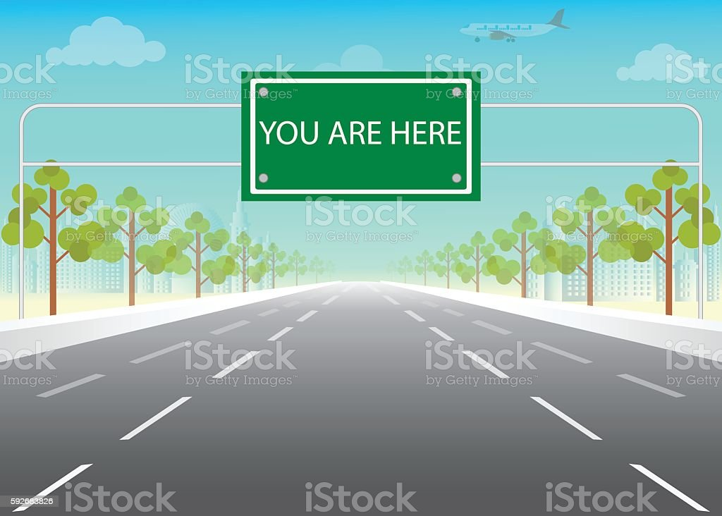 Road sign with you are here words on highway. vector art illustration