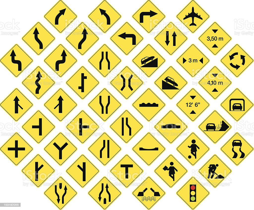road signs 3 royalty-free stock vector art