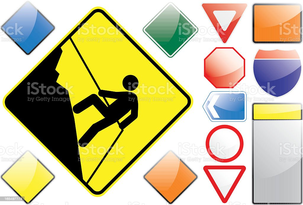 US Road Signs – Abseiling royalty-free stock vector art