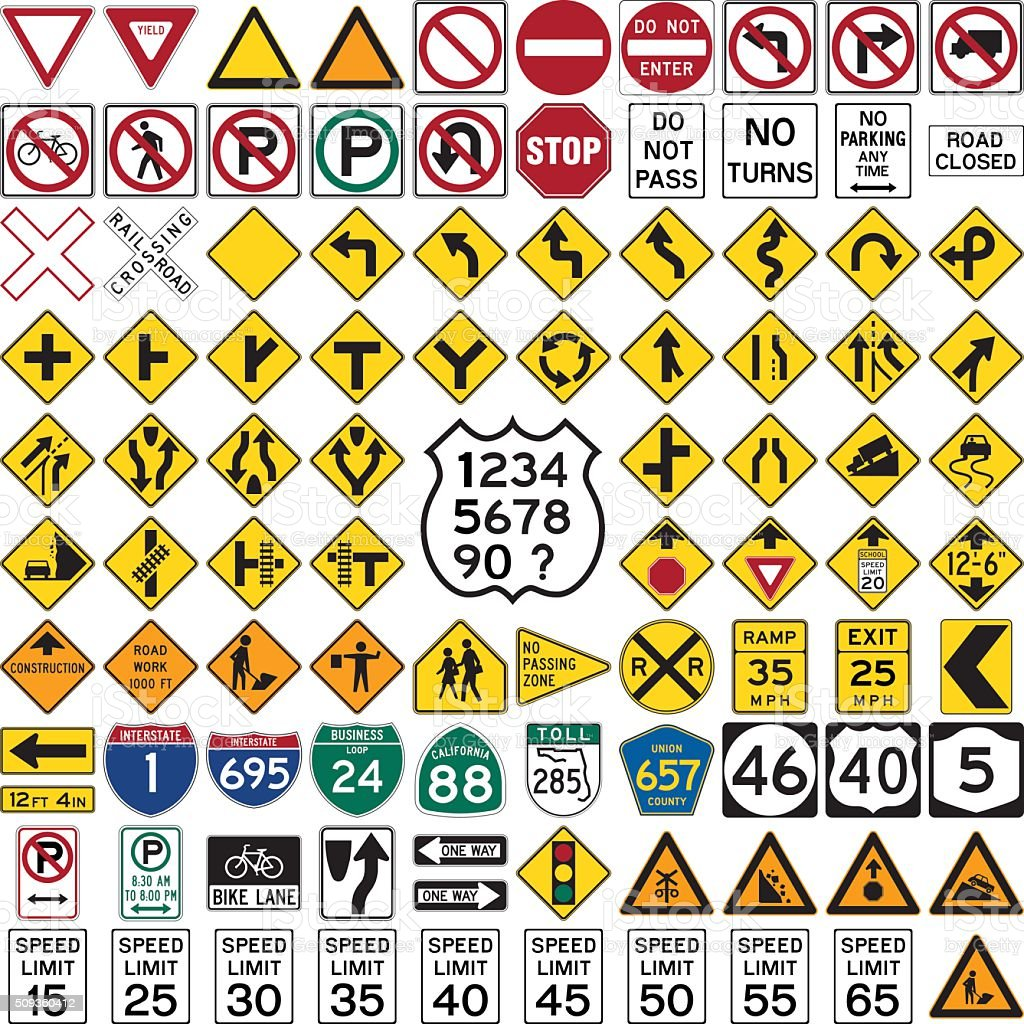 Road Signs and Symbols vector art illustration