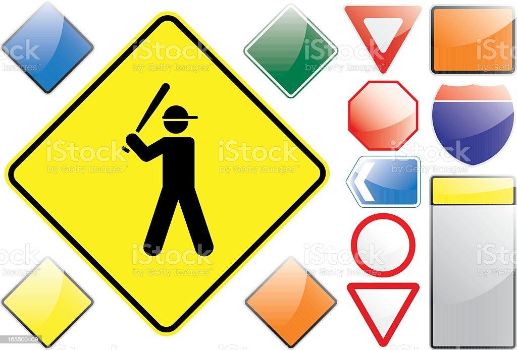 US Road Signs – Baseball royalty-free stock vector art