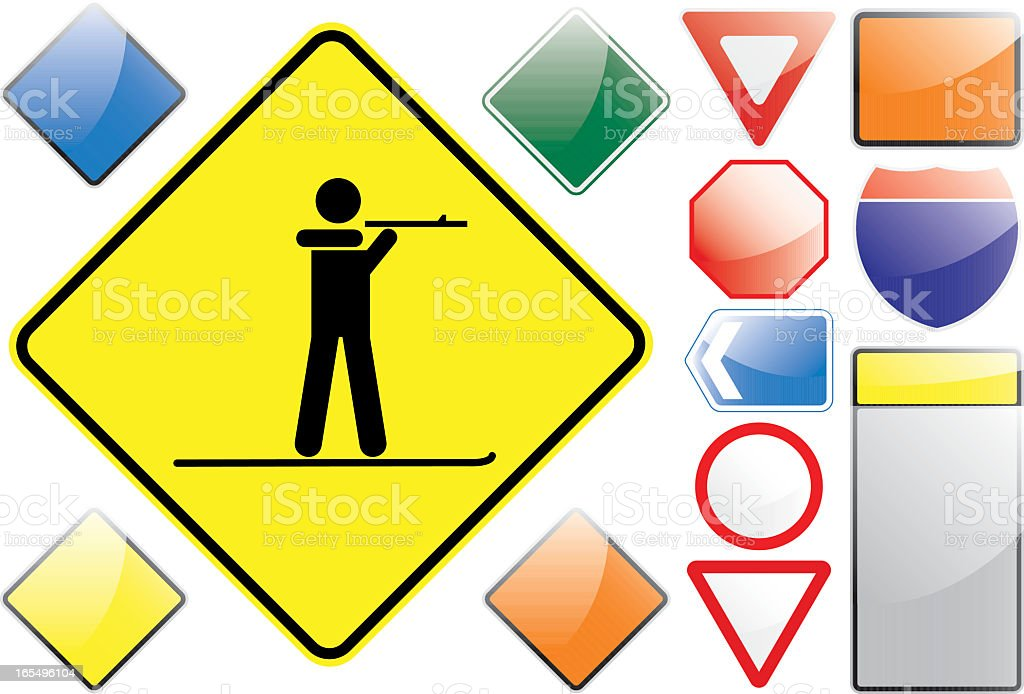 US Road Signs – Biathlon royalty-free stock vector art