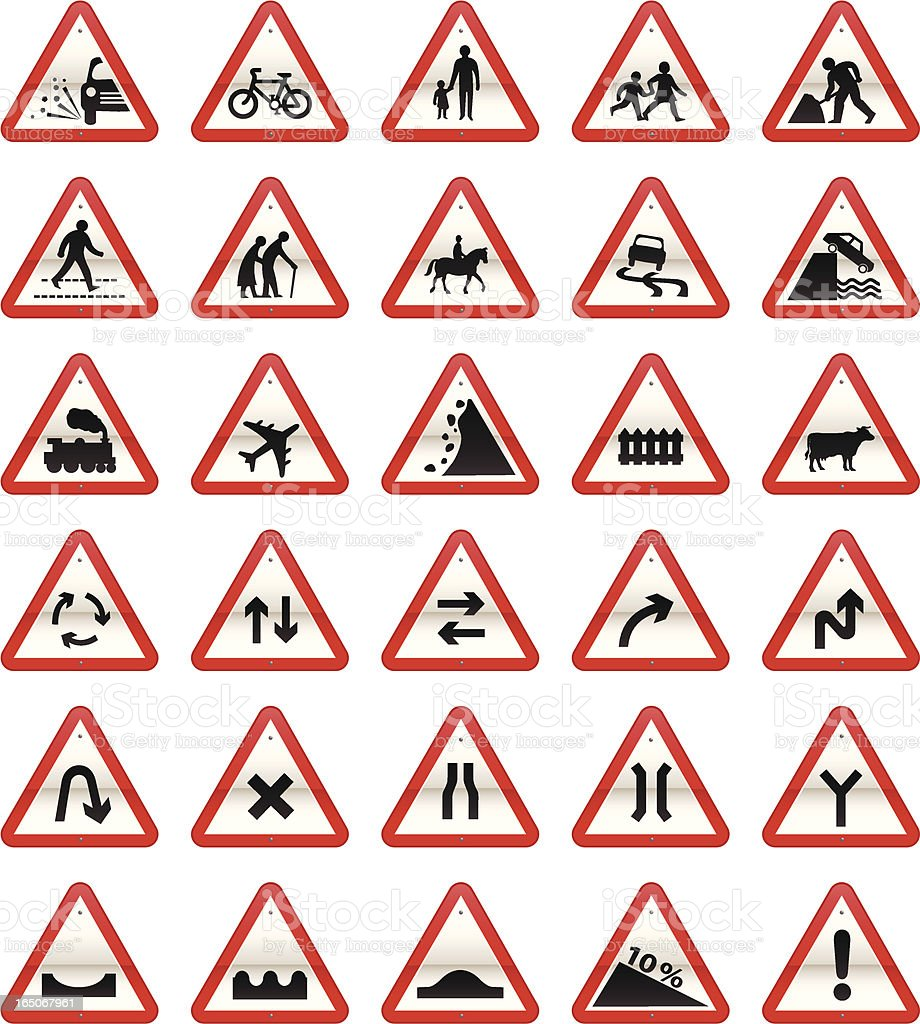 UK Road Signs: Cautionary Series royalty-free stock vector art