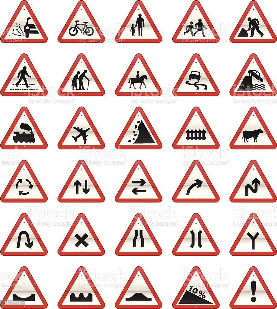 UK Road Signs: Cautionary Series vector art illustration