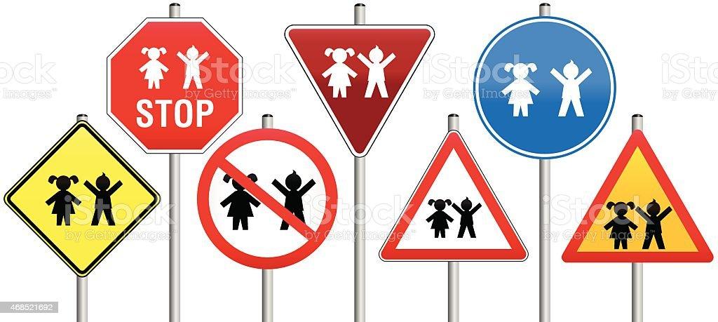 Road Signs Children vector art illustration