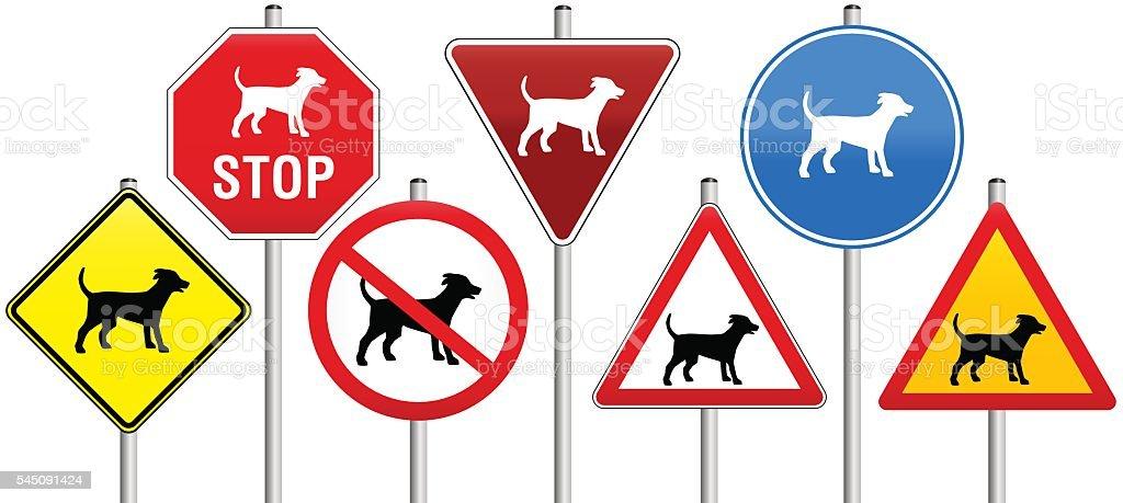 Road Signs Dogs vector art illustration