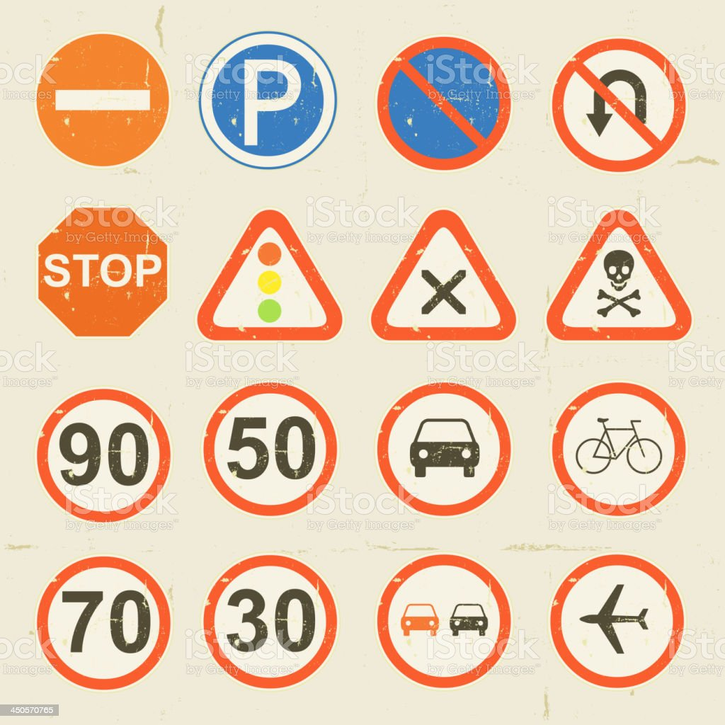 Road Signs Grunge Retro Set royalty-free stock vector art