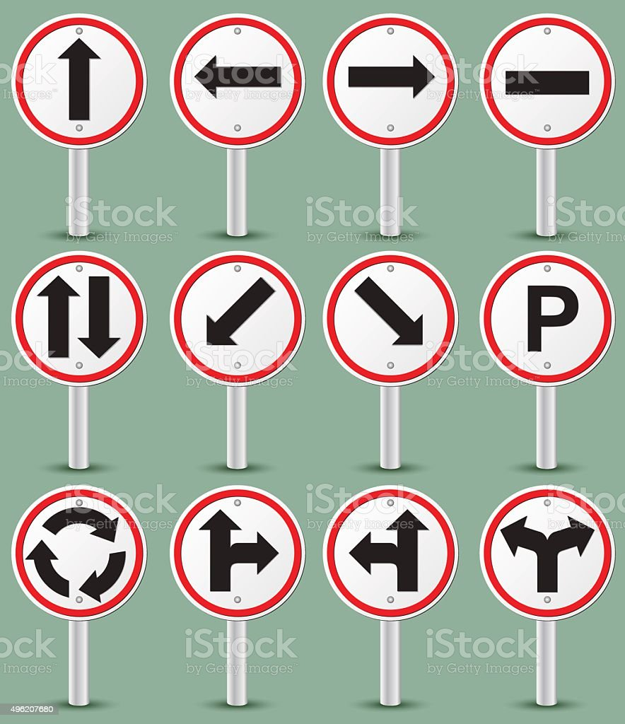 road signs isolated on green have pillars vector art illustration