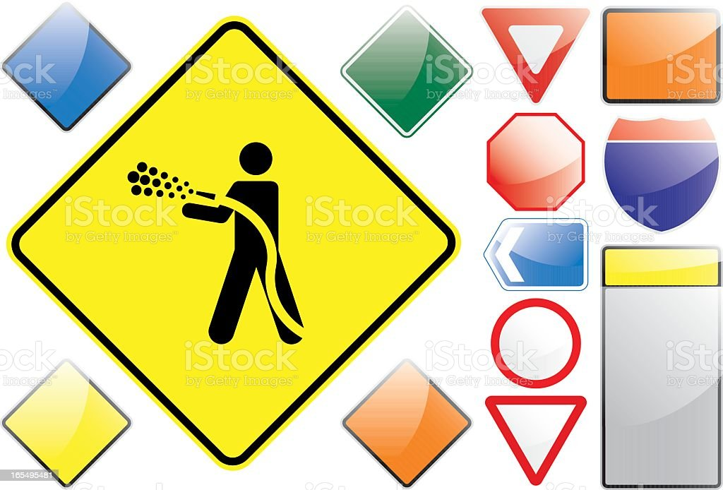US Road Signs – Jet wash royalty-free stock vector art