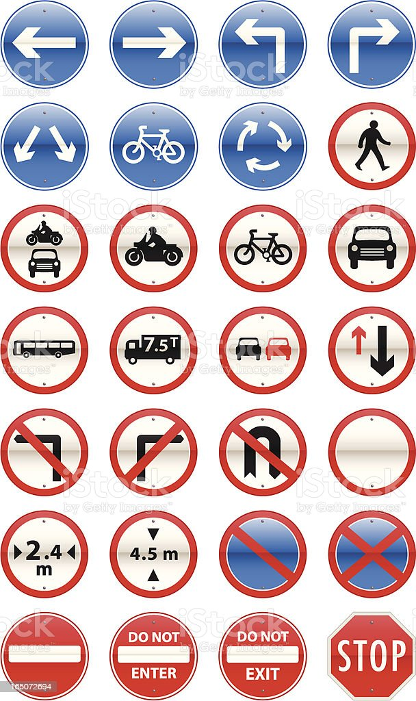 Road Signs Mandatory Series vector art illustration