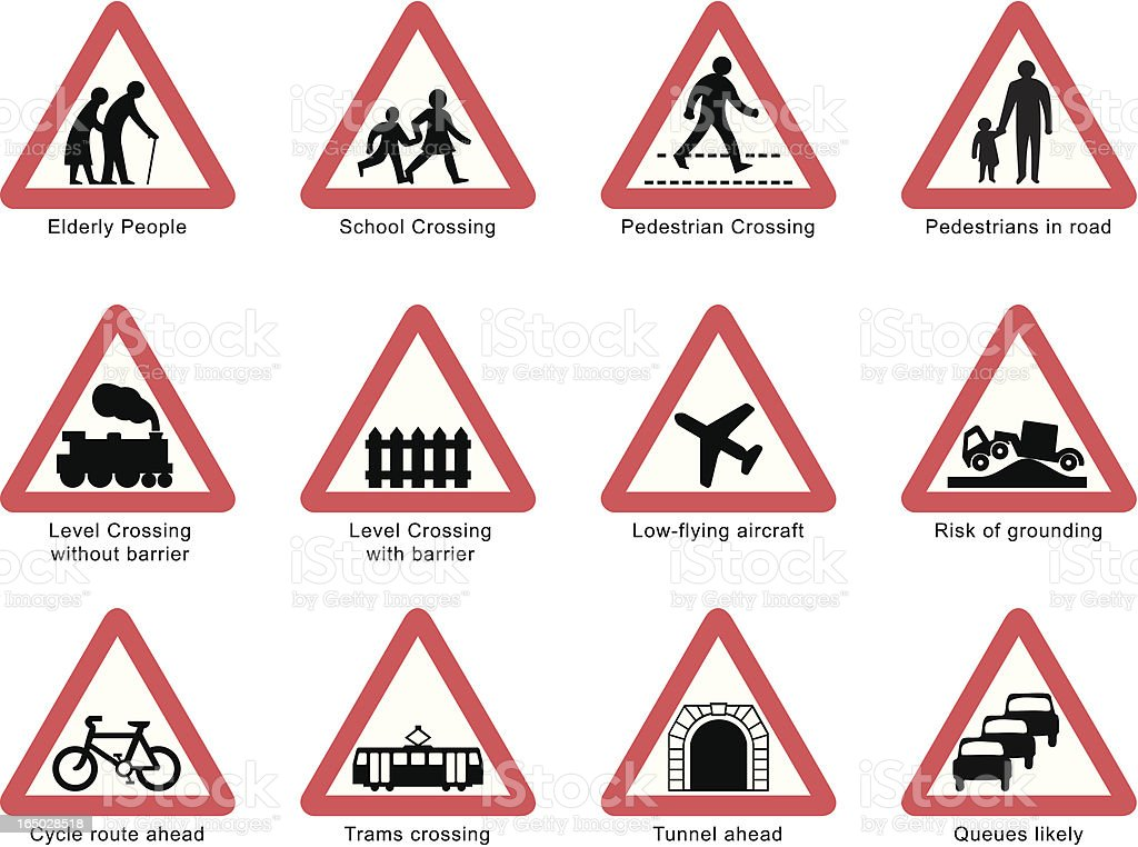 UK road signs: People and Transport isolated on white vector art illustration