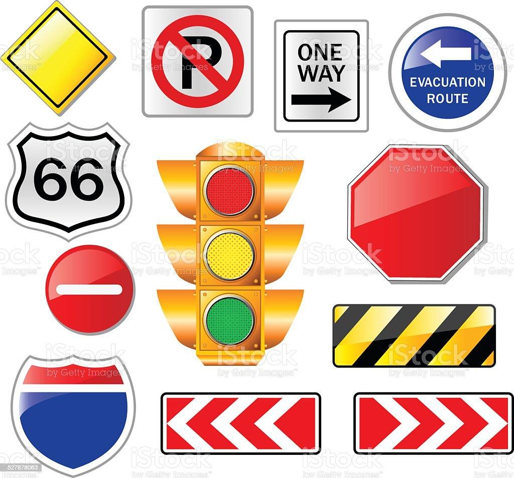 Road signs set vector art illustration