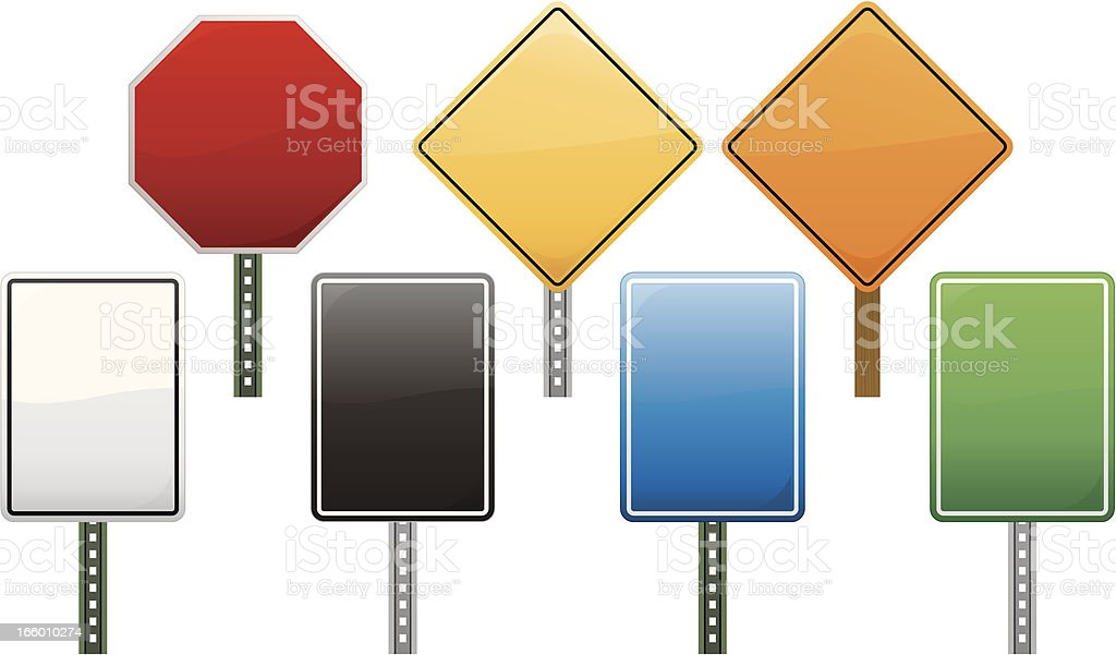 Road signs shapes in all colors and white background vector art illustration