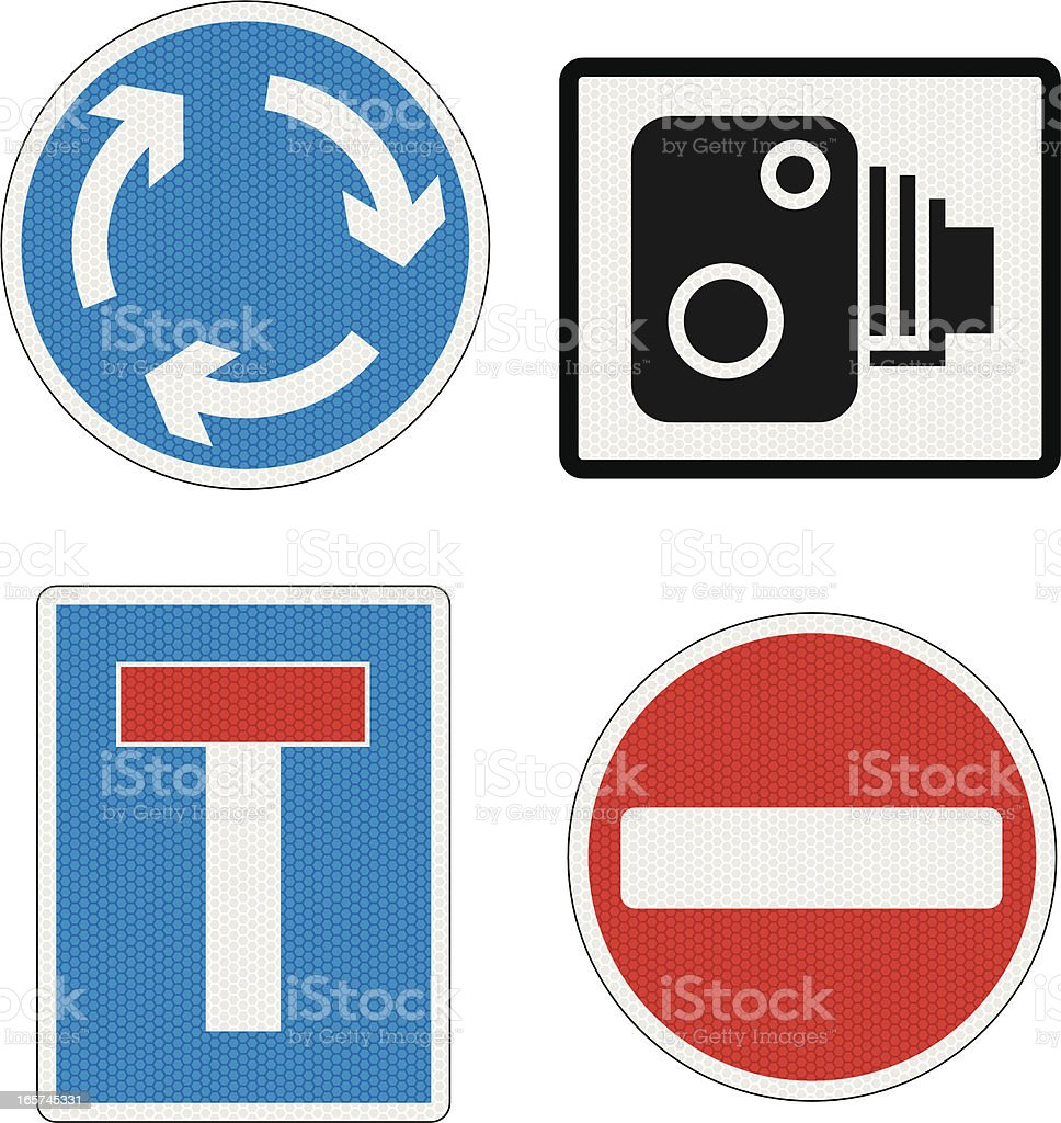 Road Signs UK with reflection detail vector art illustration