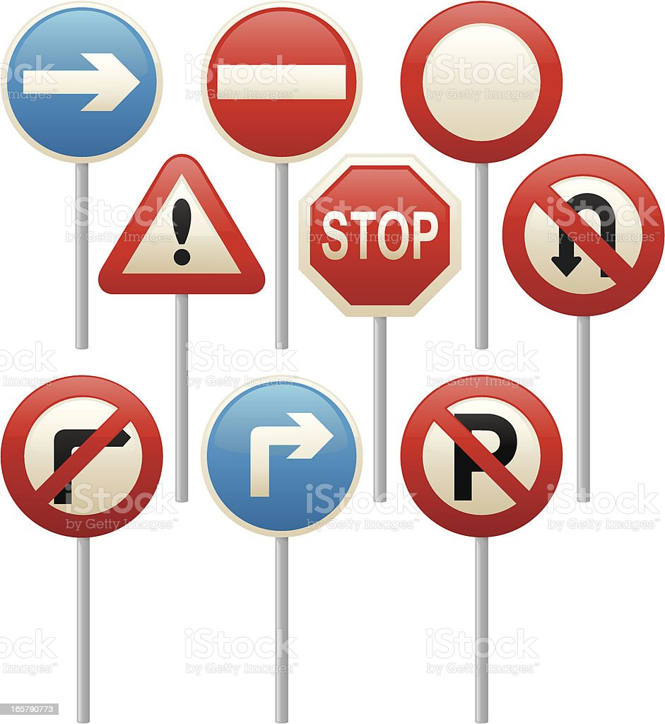 Road Signs royalty-free stock vector art