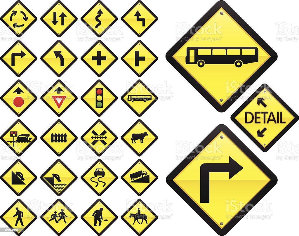 Road Signs: Warning Series (US/Australia) vector art illustration