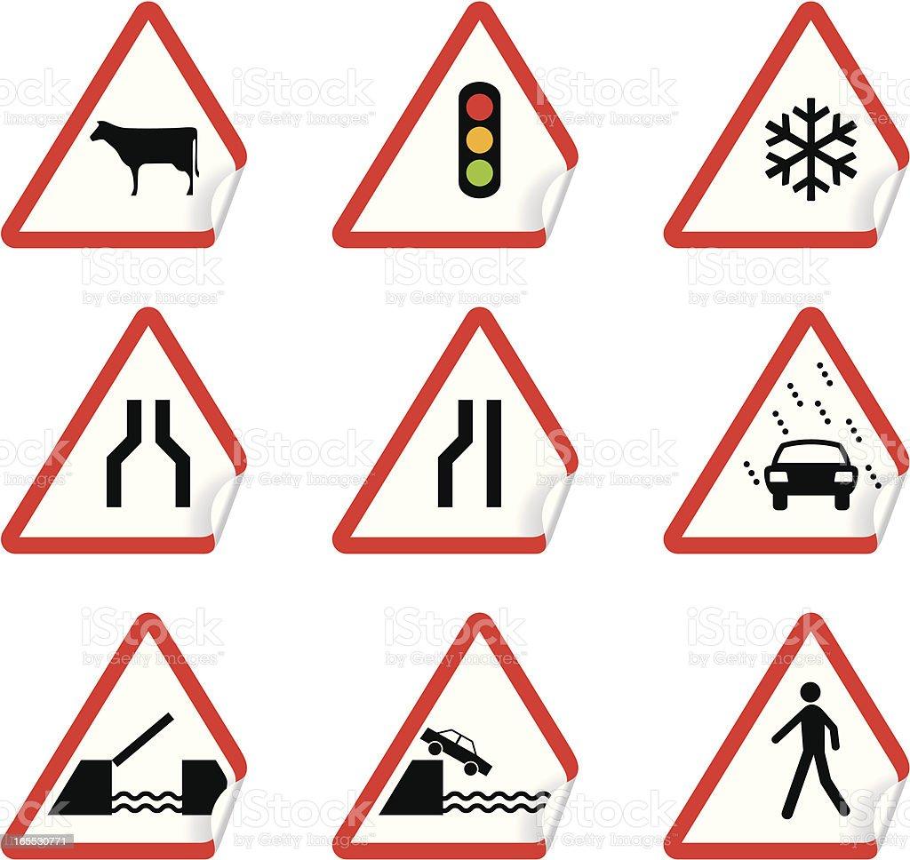 Road signs |  warning stickers vector art illustration