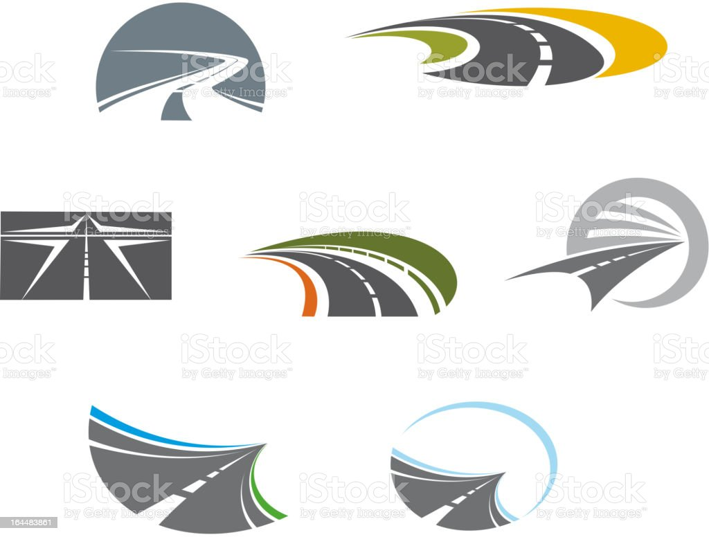 Road symbols and pictograms vector art illustration