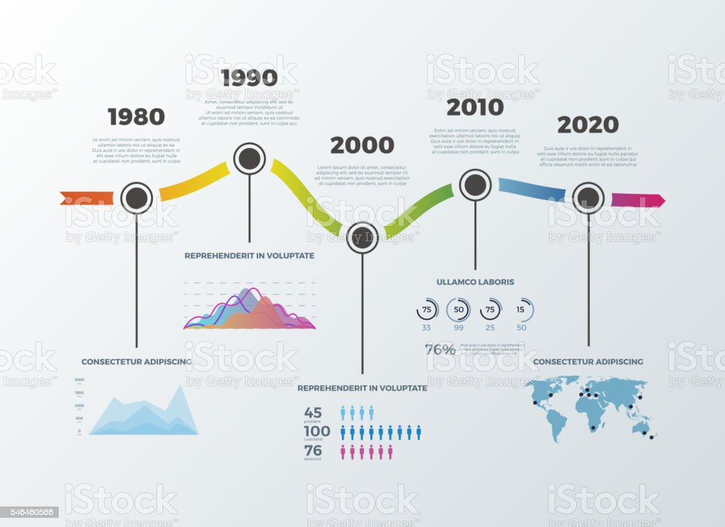 Road timeline infographic for workflow layout banner diagram number options vector art illustration