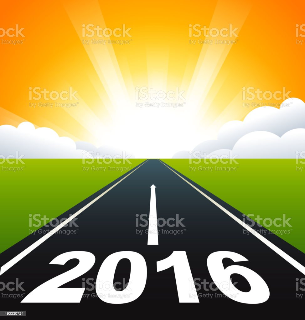 Road to 2016 vector art illustration