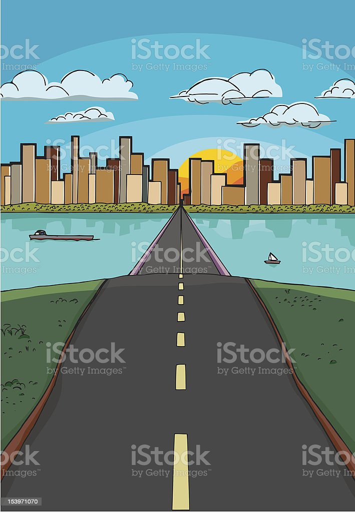 Road to a City royalty-free stock vector art