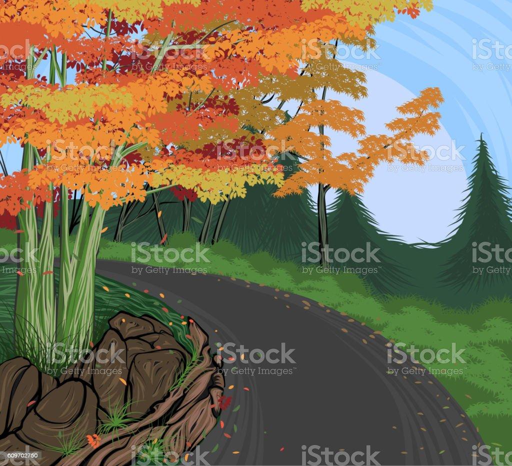 Road to Atumn vector art illustration