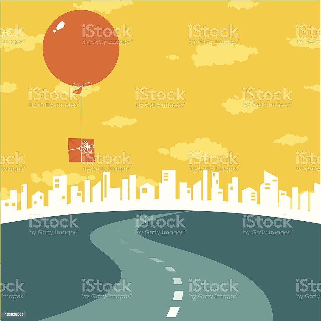 Road to big city vector art illustration