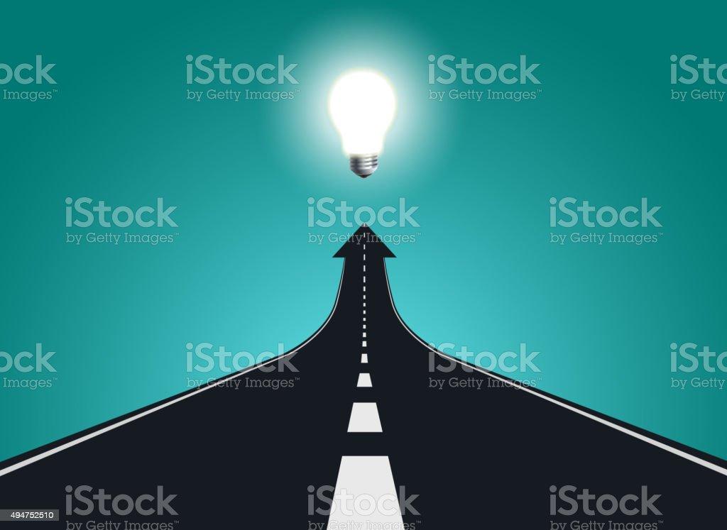 road to big idea vector art illustration