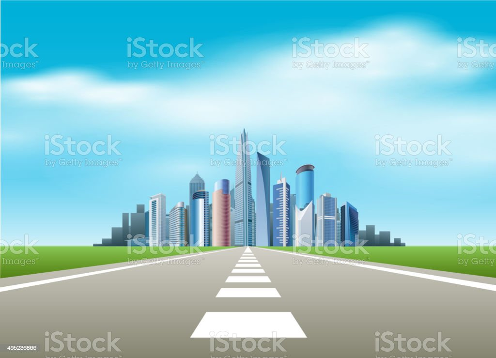 Road to city vector art illustration