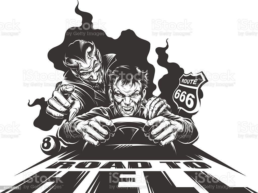 Road to Hell vector art illustration