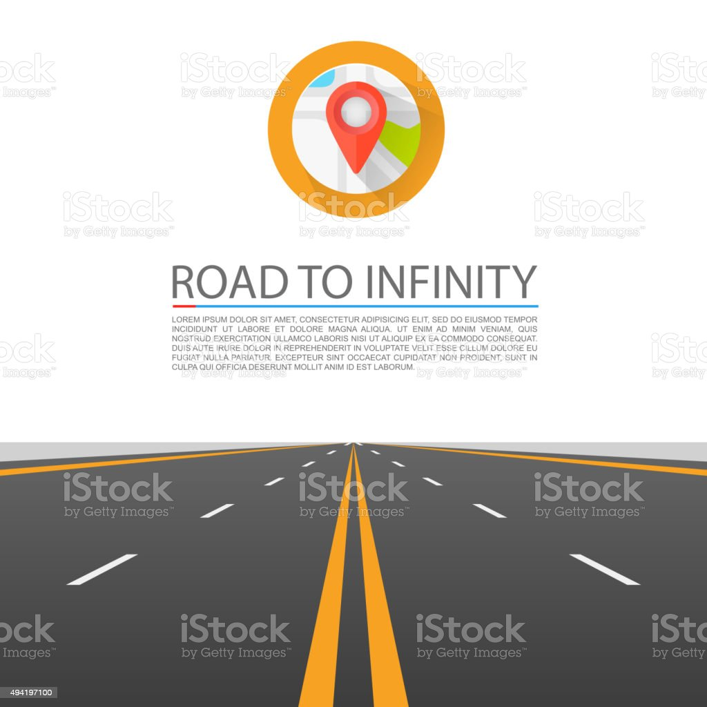 Road to infinity vector art illustration