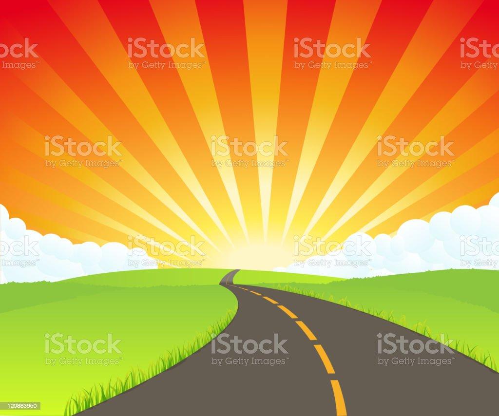 Road To Paradise vector art illustration