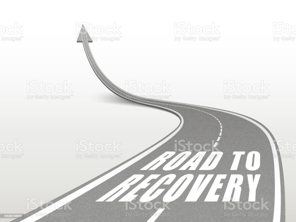 road to recovery words on highway road vector art illustration