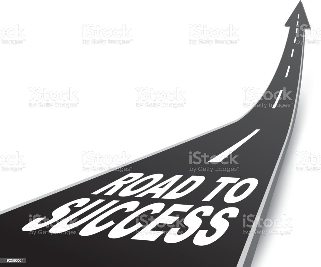 Road to success vector art illustration