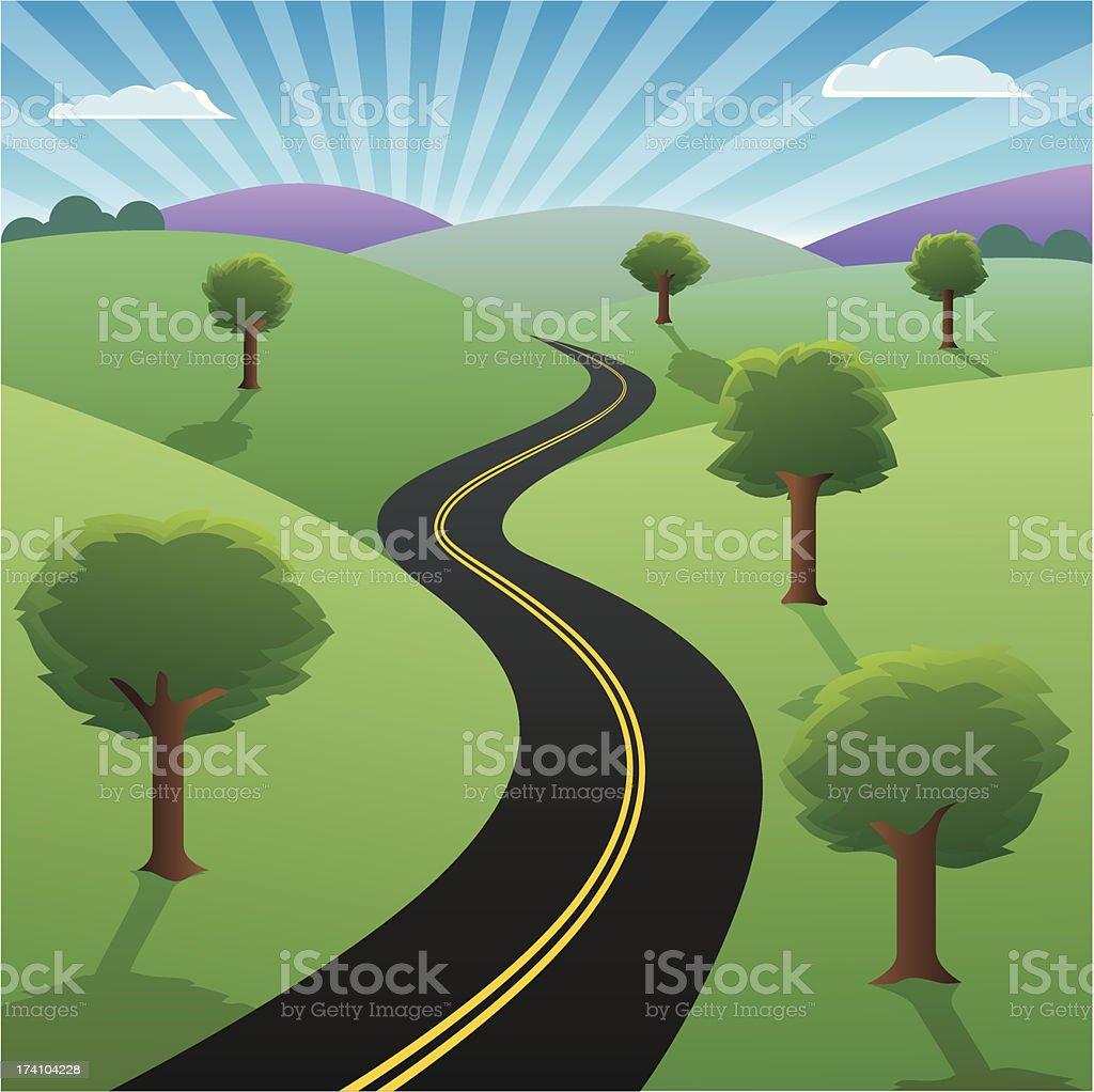 Road to sucess vector art illustration