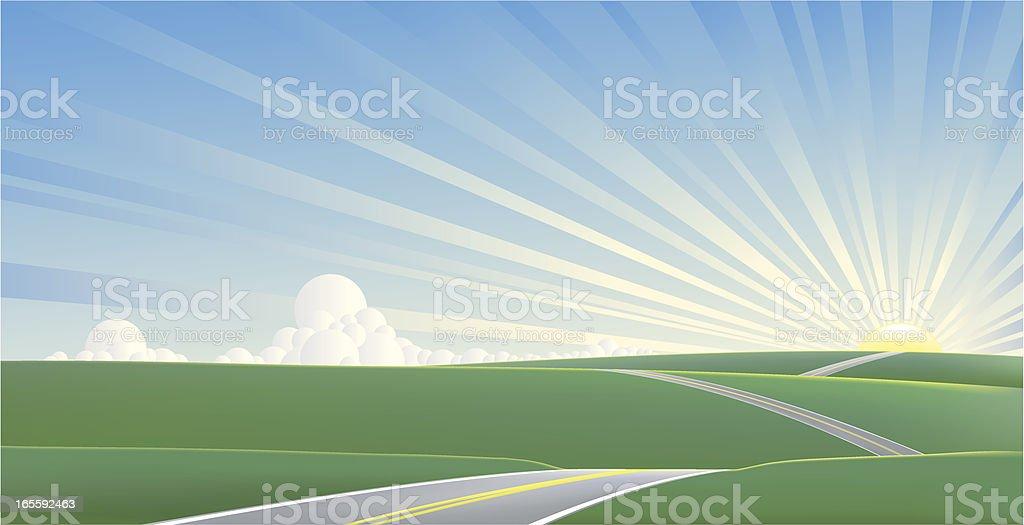 Road to the horizon royalty-free stock vector art