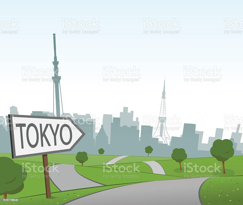 Road to Tokyo vector art illustration