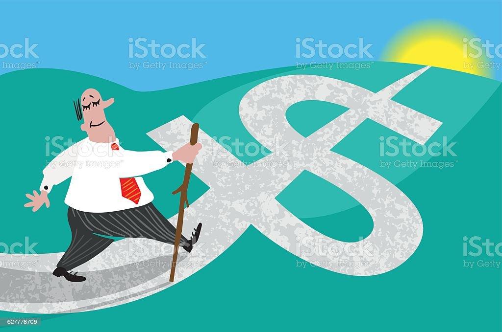 Road to wealth vector art illustration