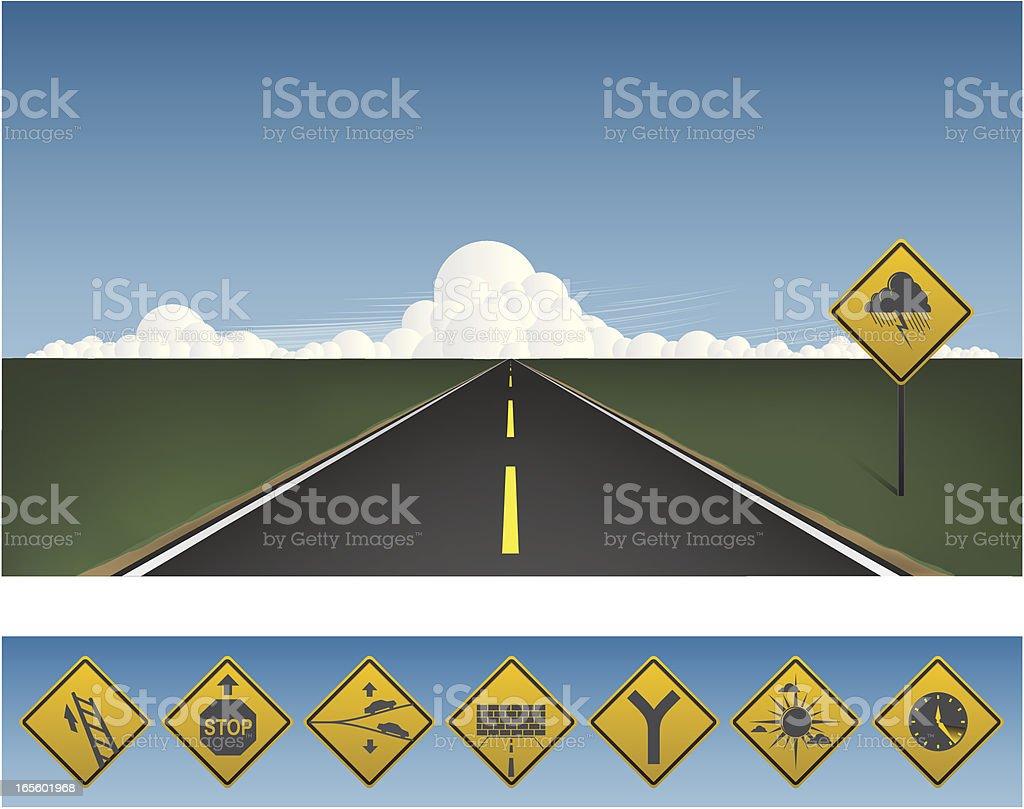 Road to your horizon vector art illustration