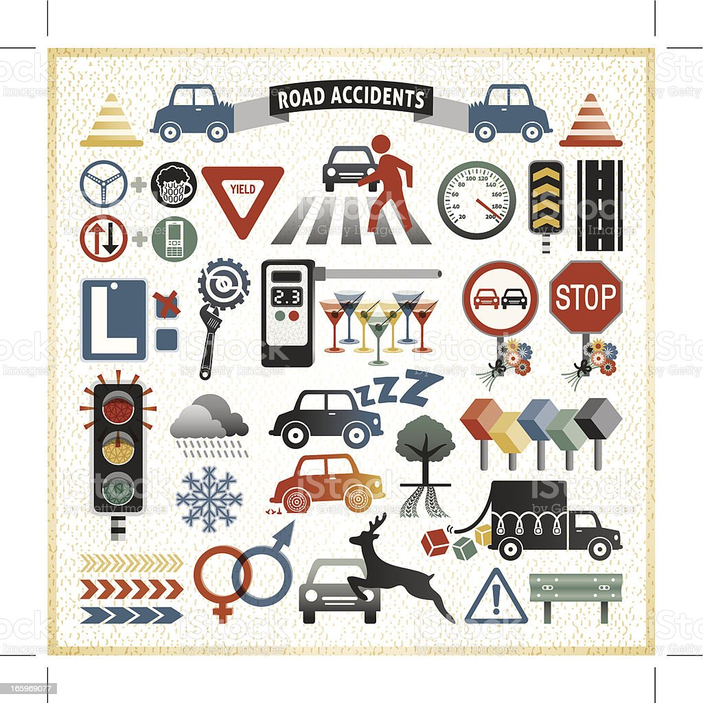 road traffic accident infographic icons vector art illustration