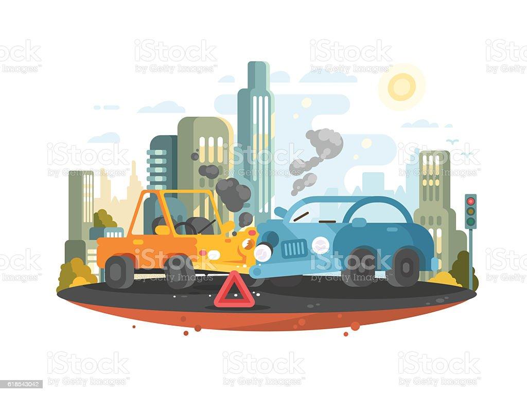 Road traffic accident vector art illustration