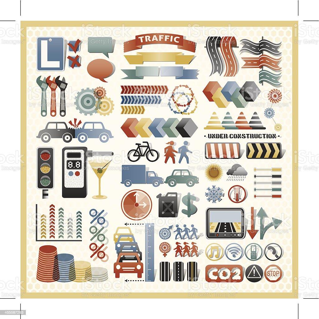 road traffic infographic icons vector art illustration