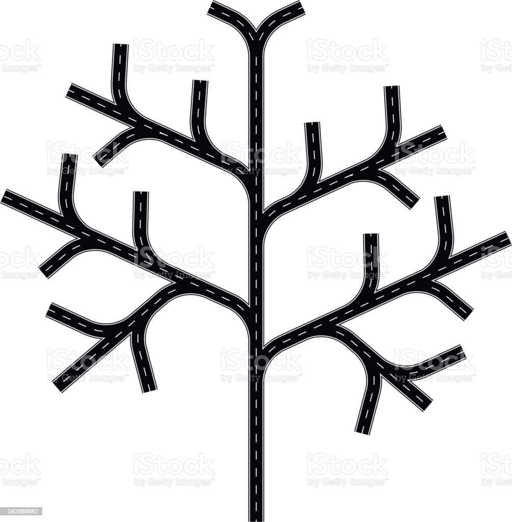 Road tree vector art illustration