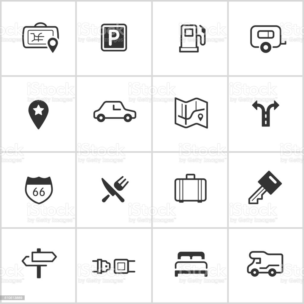 Road Trip Icons — Inky Series vector art illustration