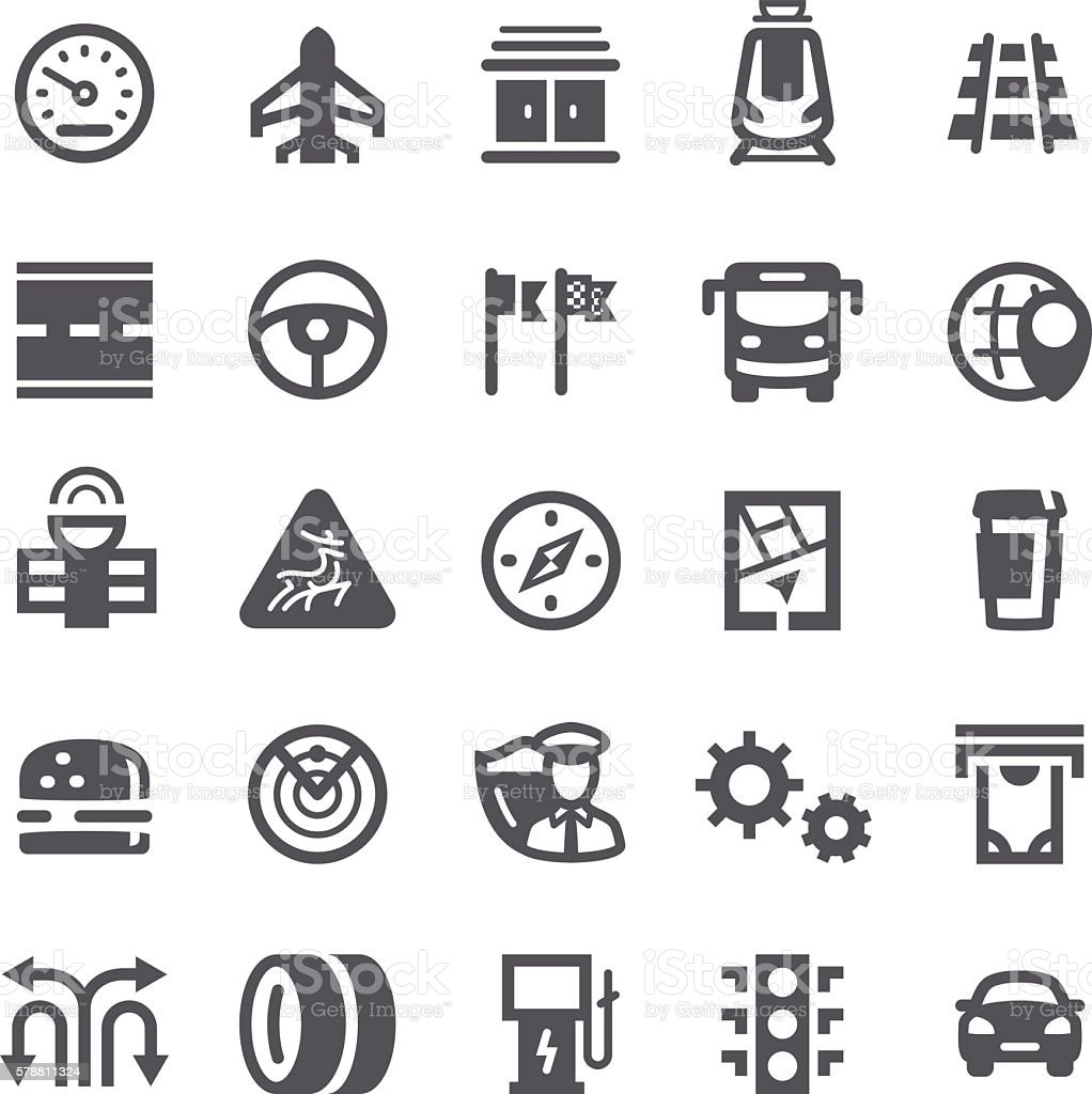 GPS Road Trip Icons vector art illustration