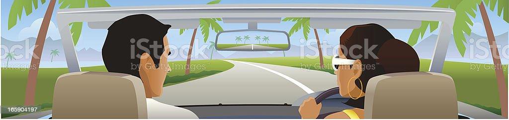 Road trip on a summer vacation vector art illustration