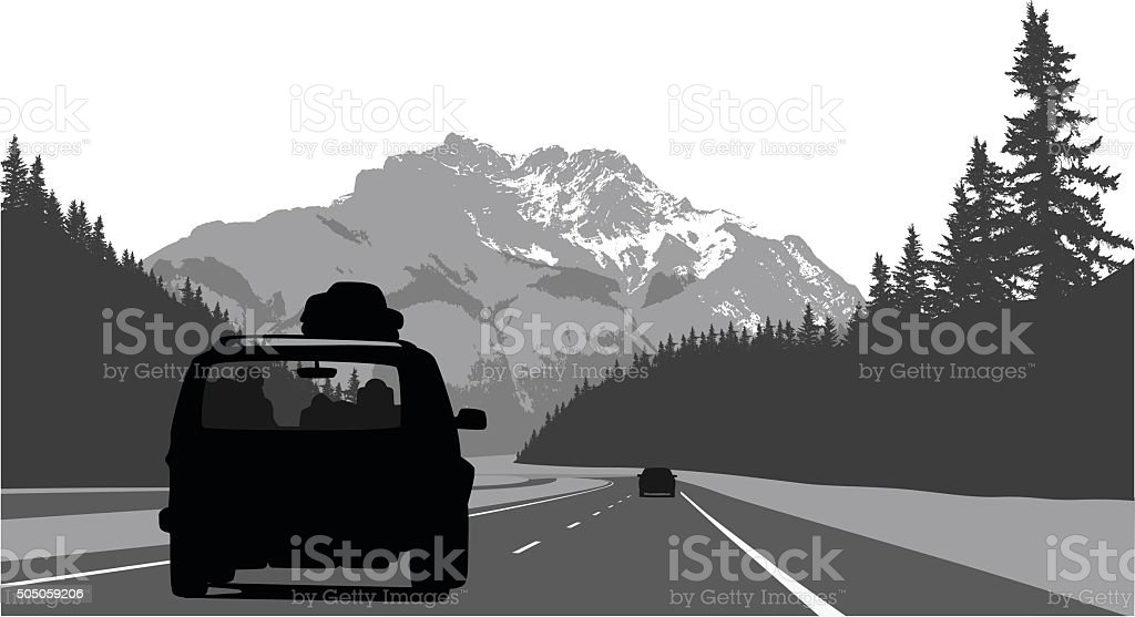 Road Trip Through The Mountains vector art illustration