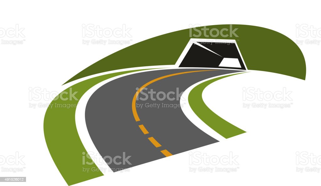 Road tunnel through green hill icon vector art illustration