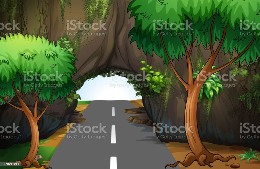 Road under the cave royalty-free stock vector art