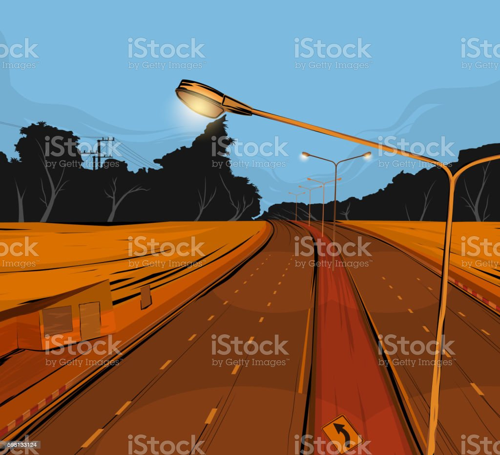 Road underpass vector art illustration